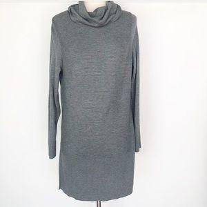 Adrienne Vittadini Gray Long Cowlneck Sweater